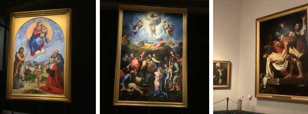 Una serie di dipinti di Raffaello e Caravaggio presenti all'interno dei Musei