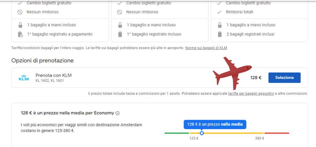 Google Voli rimanda al sito della compagnia aerea