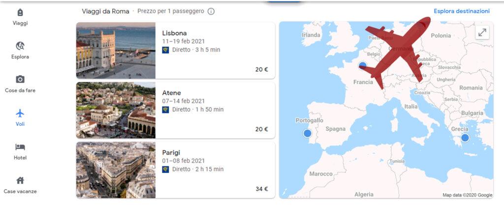 Google Voli e Esplora destinazione